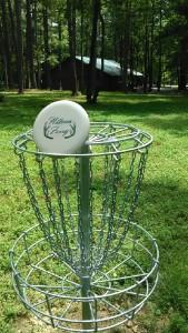 Disk Golf practice basket at Hillman Ferry Campground