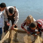Staff and kids exploring aquatic life