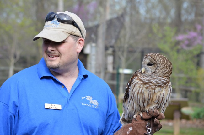 John with Barred Owl at Nature Station