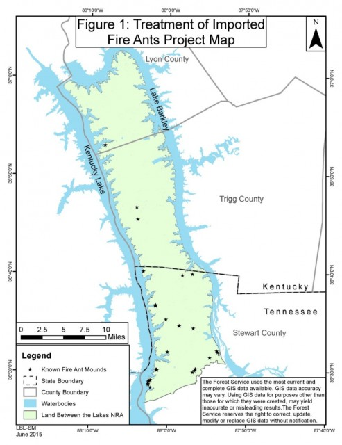 Treatment Of Imported Fire Ants Project Map 2015 Land Between The - Map-of-fire-ants-in-us