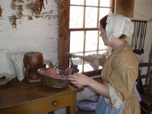 Making sausage at the Homeplace 1850's Working Farm and Living History Museum
