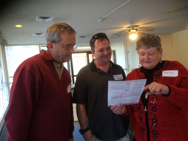 Recreation Program Manager, Gary Hawkins and Operation Warfighter Intern, Mike Greene, discuss the new planning rule with Paula Flood, Trigg County Deputy Emergency Management Director and Land Between The Lakes Advisory Board member.