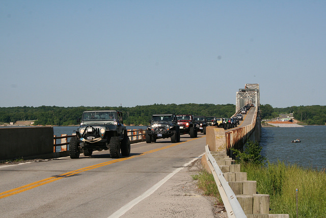 Jeep Jamboree Crossing the old Eggner's Ferry Bridge on their way to Turkey Bay Off-Highway Vehicle Area in Land Between the Lakes.