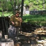 Making shingles the old fashioned way at the Homeplace 1850s Farm