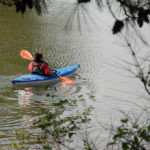Forest Service photo of kayaker paddling along a bay.