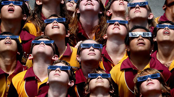 Wear special glasses to protect your eyes when viewing the solar eclipse