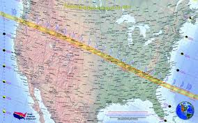 Map of United States showing path of totality of solar eclipse